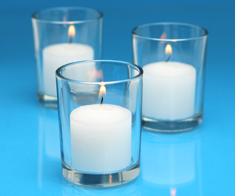 white votive candles and clear glass votive candle holders case of 72. Black Bedroom Furniture Sets. Home Design Ideas